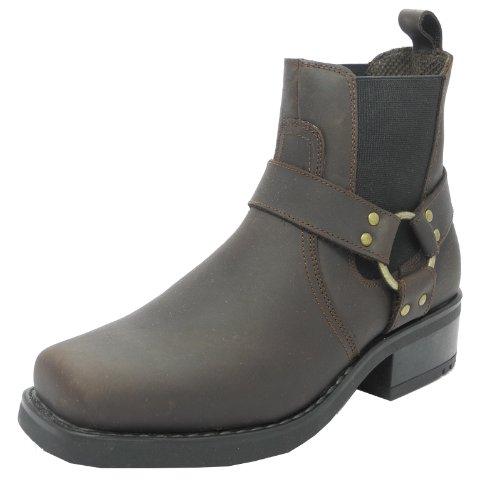 Para hombre Harley Biker vaquero arnés de tobillo botas piel marrón o negro tamaños 7–