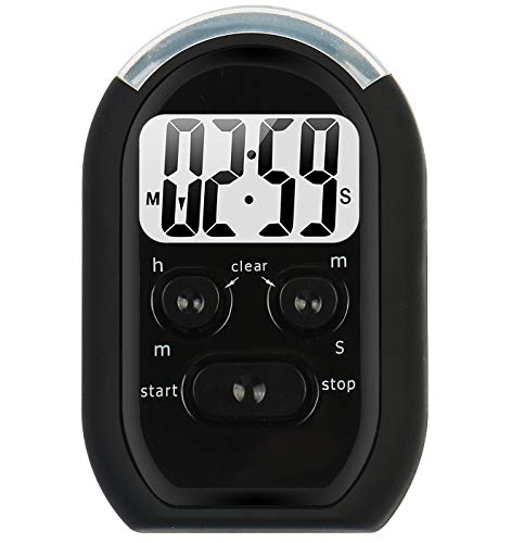 Digital Kitchen Timer,3 in1 Kitchen Timer with Beeper,Flasher and Vibration for Cooking,Baking,Sports,Games,Yoga, Meditation,Study,Office etc,Timer3018,Black (2.8X1.8, Black)