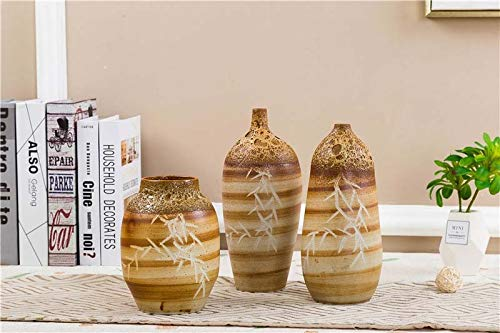 Boutique vase Ceramic vaseQuaint Brown Hand-Carved Beauty Bamboo High-Temperature Color Bubble Glaze Simple Style Home Office Decoration