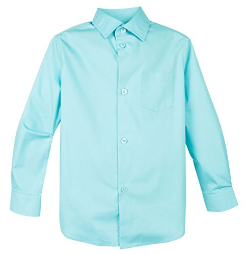 Spring Notion Big Boys' Long Sleeve Dress Shirt 5 Aqua