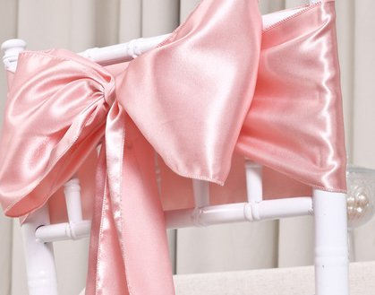 MDS Pack of 250 satin chair sashes bow sash for wedding and Events Supplies Party Decoration chair cover sash - blush pink by mds