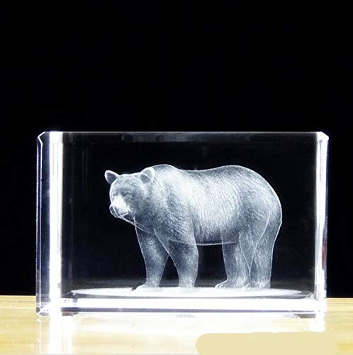 ZAMTAC 505080mm Engraved Crystal Paperweight Asia Quartz Cube with 3D Bear for Home Decoration Family Souvenir Photo Surprise - (Color: Blue)