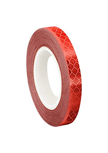 3M 3432 Red Micro Prismatic Sheeting Reflective Tape - 1 in. X 15 ft. Non Metalized Adhesive Tape Roll. Safety Tape