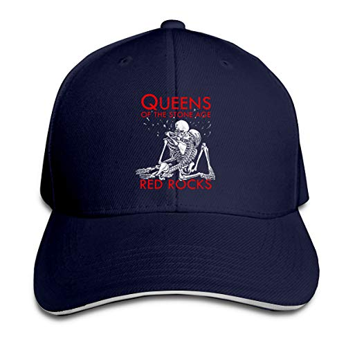 Corrine-S Queens of The Stone Age Outdoor Hiking Cotton Hat Adjustable Navy