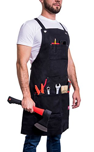 Waxed Canvas Apron by Zortis   Heavy Duty Apron With Pockets For Men and Women   Multiprofessional Water-Repellent Tool Apron Fits From Small To X-Large (Two Dogs Designs Chefs Barbecue)