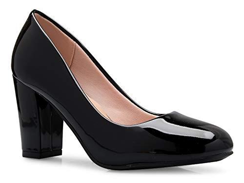 OLIVIA K Women's Classic Round-Toe Platform Pumps High Block Heel - Adorable, -
