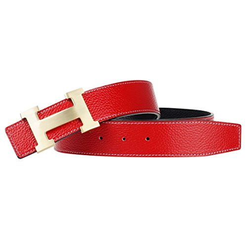 G-FOR Men's H Reversible Leather Belt With Removable Buckle 38inch Red -