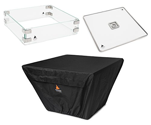 Outland Fire Table 3 Piece Square Accessory Set of Tempered Glass Lid Insert, Tempered Glass Wind Guard Fence, and UV & Water Resistant Durable Cover for 36-Inch Square Series 410 Propane Fire Tables