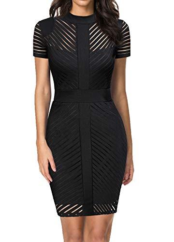 REPHYLLIS Women's Short Sleeve Zip Busniess Bodycon Pencil Dress Black M]()