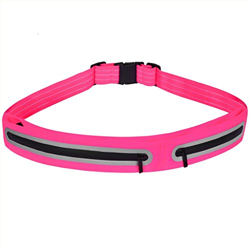 BFSPORT Sport Running Belt Water Resistant Waist Storage Belt for iPhone 8/8plus/7/7Plus/6/6S/6Plus, Samsung S8,S7 and Other Smartphones (Pink)
