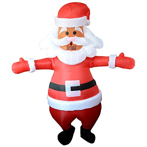 Vantina Christmas Santa Claus Inflatable Costume Jumpsuit Blow Up Suit With Beard and Hat