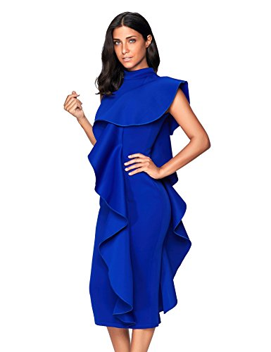 Party Ruffles Dresses Blue Womens Bodycon Meilun Clubwear Patchwork Vestidos Sleeveless qnYTBwOt