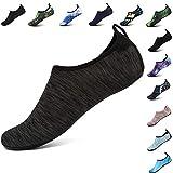 VIFUUR Men Women Swim Water Shoes Barefoot Aqua Socks Shoes for Beach Pool Surfing GrayBlack-38/39