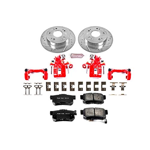 (Power Stop KC1243 1-Click Performance Brake Kit with Calipers, Rear Only)