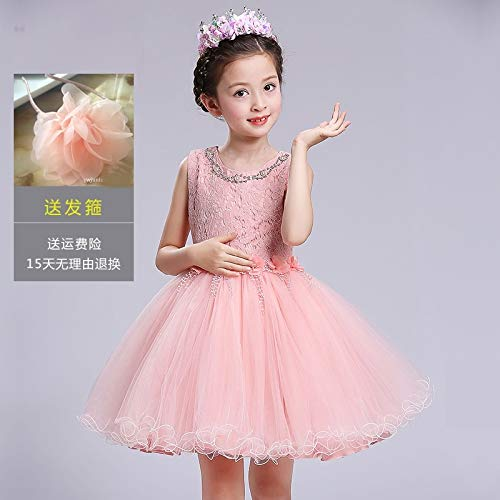 Princess Dress Girls Dress Spring Summer lace Vest Children Girls Dress Flower Girl Dress Wedding Dress Tutu (Pink Vest [Send Flowers Hair ()