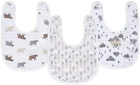 aden by aden + Anais Classic Snap Bibs, 3-Pack, Bear Necessities