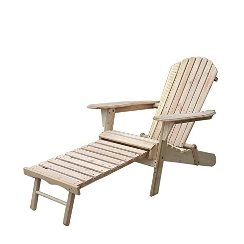 Sliverylake Outdoor Foldable Wooden Adirondack Chair w/ Pull-out Ottoman Lounge Patio Deck Garden Furniture - Garden Furniture Foldable Wood