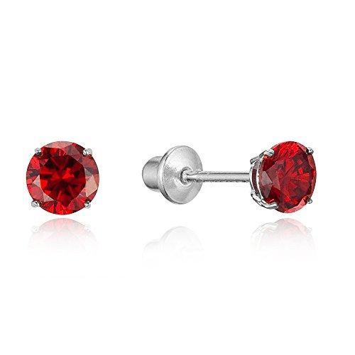 (925 Sterling Silver Rhodium Plated 4mm Cubic Zirconia Stud Screwback Baby Girls Earrings)