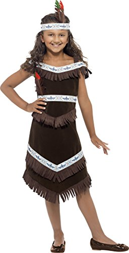Smiffy's Children's Native American Indian Girl Costume, Dress and Headband, Ages 7-9, Size: Medium, Color: Brown, 41096