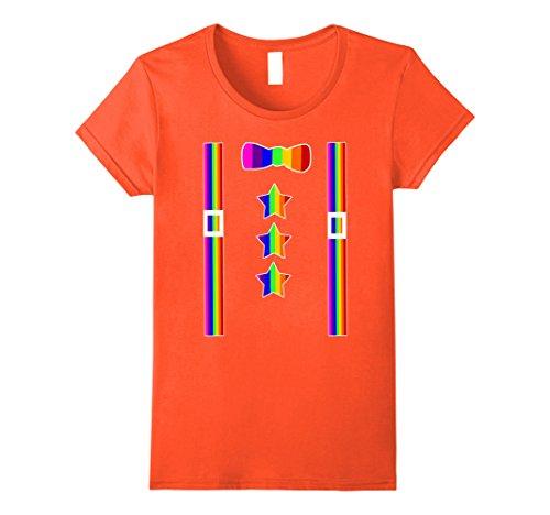 Star Clown Costumes (Womens Rainbow Suspenders Bow Tie Stars Fun Clown Costume Shirt Large Orange)
