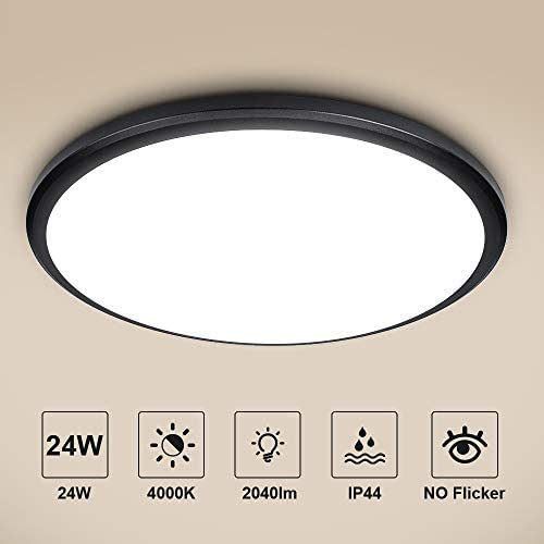 bedee 24W Ceiling Lights LED Flush Mount, IP44 Waterproof Ceiling Light Fixture, 12 inch Black Round Ceiling Lamp for Kitchen, Bathroom, Bedroom, Hallways, Stairwell, 4200K, 2040LM, Natural White