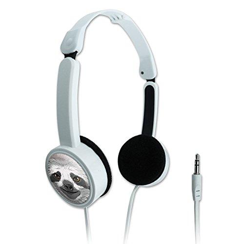 Novelty Travel Portable On-Ear Foldable Headphones Animals - Sloth -