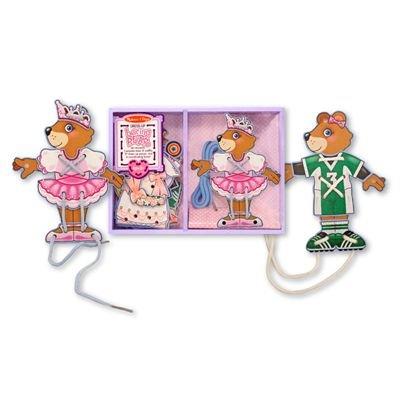 Melissa & Doug Deluxe Dress-Up Lacing Wooden Bear Play - Puppet Ballerina Doug