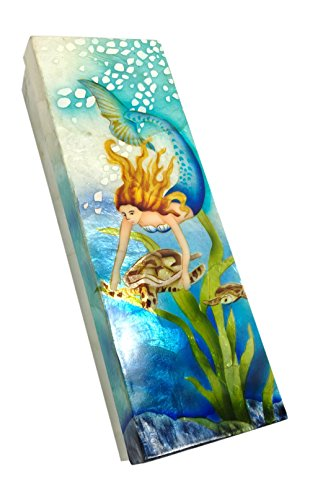 Kubla Craft Mermaid with Sea Turtle Capiz Shell Keepsake Box, 9 Inches by 3 -
