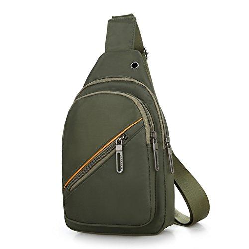 Umhängetasche Herren Brusttasche große Kapazität Outdoor Reise Messenger große Kapazität Casual Nylon wasserdichtes Gewebe Rucksack eine Schulter (Größe: 17 * 5 * 28cm) (Farbe : Armeegrün) Armeegrün Zt4SzJbl