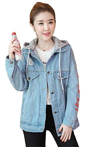 Coat Cappuccio Casual Giacca Autunno Sciolto Primaverile Con Elegante Ricamo Digitale Moda Blau Giaccone Mantello Giacche Manica Lunga Jeans Donna Removibile 7Cqgx