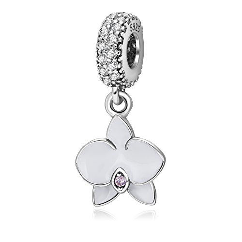 925 Sterling Silver Charms Orchid with Cz Stone and Enamel for European Charms Bracelet (Dangling White) Dangling Flower Charm