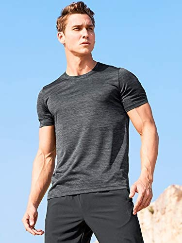 41ZIeYte0HL. AC 5 Pack Men's Active Quick Dry Crew Neck T Shirts | Athletic Running Gym Workout Short Sleeve Tee Tops Bulk    Product Description
