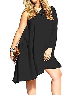 AMZ PLUS Womens Sexy Plus Size One Shoulder Long Sleeve Irregular Loose Dress