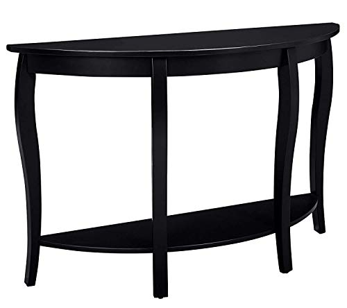 MUSEHOMEINC Modern Fashion Style Wood Half Moon Console Table with Curved Legs, Console Table with Bottom Shelf,Black Finish