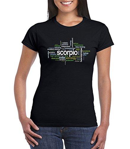 (Scorpio Zodiac Sign Astrology Horoscope Word Cloud Womens Tshirt (Large, Black))
