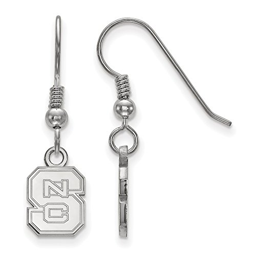 925 Sterling Silver Officially Licensed North Carolina State University College Mini Small Dangle Wire Earrings (10 mm x 8 mm) by Mia's Collection