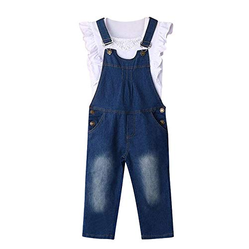 MOGOV Toddler Kids Baby Girls Jeans Romper Summer Shortalls Outfits Clothes Vest + Overalls Pants Set -