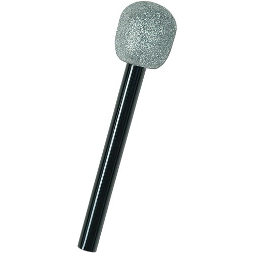 (Glittered Microphone (silver & black) Party Accessory  (1 count))