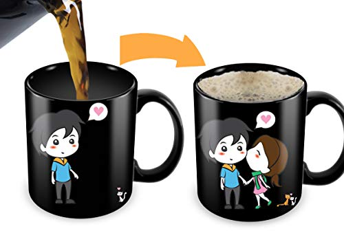 Heat Sensitive Mug | Color Changing Coffee Mug | Funny Coffee Cup | Lovely Cartoon Couples Design | Birthday Gift Idea for Him or Her, Mother' Gift for Mom and Father's Day Gift -