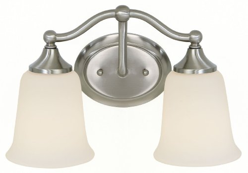 Murray Feiss MF VS10502 Claridge 2 Light Bathroom Vanity Light, Brushed Steel