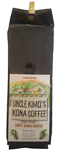 Uncle Kimo's Kona Coffee - 100% Clear Fancy Hawaiian Beans, Not a Blend - Kona Whole Bean - Gourmet Dark Roast - Grown on Real Hawaii Volcanic Blacken and Freshly Roasted