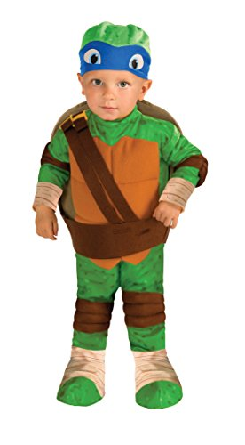 Blue Ninja Turtle Halloween Costume (Nickelodeon Ninja Turtles Leonardo Romper Shell and Headpiece, Green, Toddler)