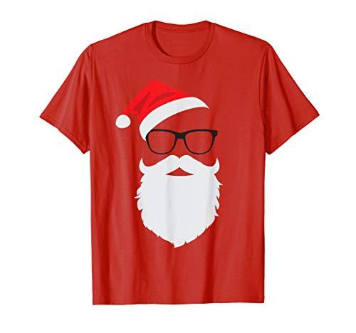 (Hipster Santa Face with Hat beard & Glasses Christmas Shirt)