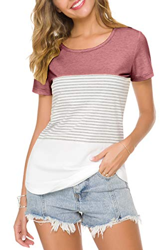 ZENNILO Women's Short Sleeve T Shirt Round Neck Triple Color Block Stripe Tunic Tops (Red S) ()