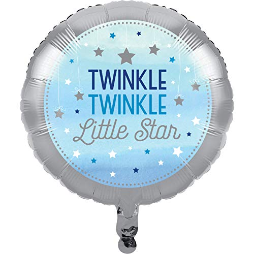 Creative Converting 322247 Twinkle Little Star Blue Foil Balloon Party Supplies, One Size, Multicolor