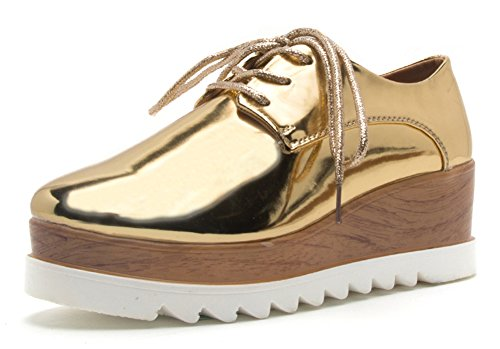 Qupid Mujeres Wingtip Metalizado Con Cordones Plataforma De Madera Wedge Oxford Shoe Gold