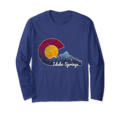 Unisex Idaho Springs Colorado Long Sleeve Shirt Flag Inspired Scene Large (Idaho Long Sleeve)