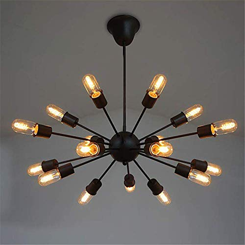 Crystal Eighteen Chandelier Light - Retro Chandelier 18 Lights Downtown Industrial Light for Bar Restaurant Dining Hall, Household