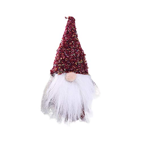 Norbi Handmade Swedish Christmas Long Beard Gnome Scandinavian Forest Man Plush Swedish Figurines Christmas Ornaments Gifts for Home(Red) ()