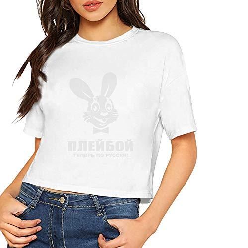JiJingHeWang Women's Nu Pogodi Russian Playboy Short Sleeves Lumbar Tshirts White